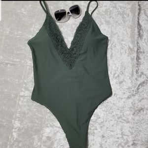 Aerie Olive Lace One Piece Swimsuit